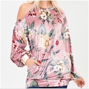 Tops - Blush Floral Velvet Tunic